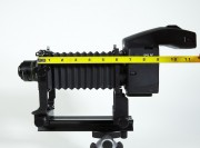 Schneider 50mm Componon-S Lens mounted in reverse to the Mamiya Auto Bellows with a Phase One body (digital back not attached).