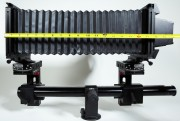 "The Sinar X with maximum extension showing 17"" of usable extension. On the rear of the Sinar X is the Phase One FlexAdapter which allows the mounting of a Phase One digital back while maintaining ground-glass focusing and composition."